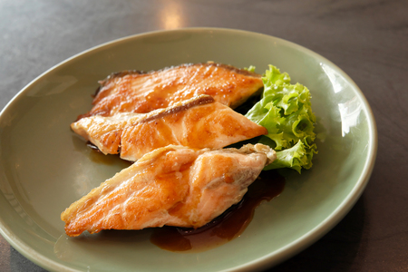 fried salmon Stock Photo