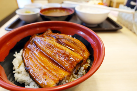 Grilled eel on rice in Japan.