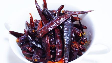chiles picantes: chiles rojos secos primer Foto de archivo