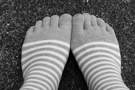 five fingers: wear socks five fingers style on Black and White