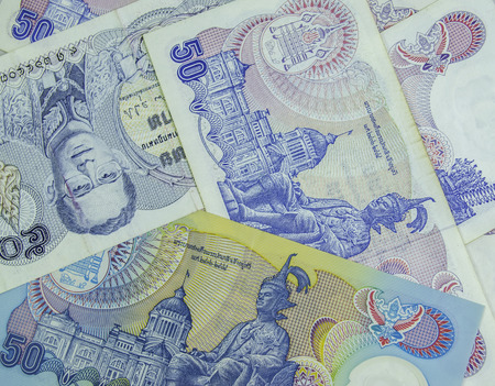 baht: Thailand banknotes fifty baht  Stock Photo