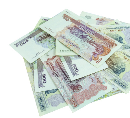 riel: 100, 500 and 1000 riel banknotes from cambodia  Stock Photo