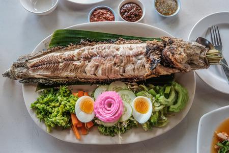 Salt Crusted Grilled Fish Thai folk food