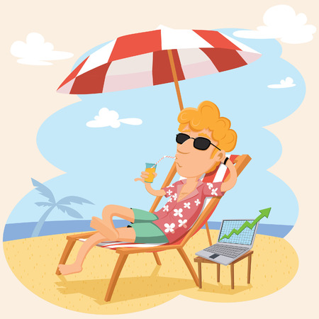good mood: Cartoon businessman in a good mood working with laptop on the beach. EPS 10 vector