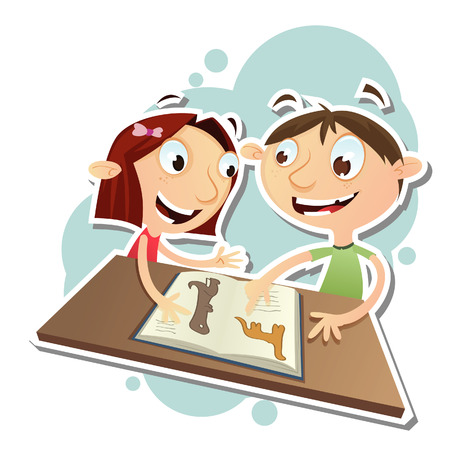 spelling book: Vector illustration of cartoon boy and girl reading a book together. EPS 10