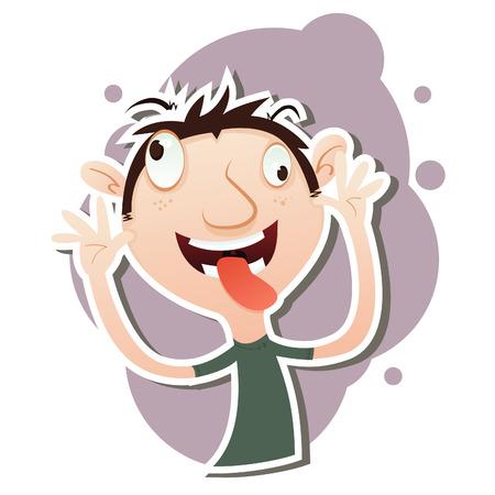 Vector illustration of Cartoon man taunting.  Illustration
