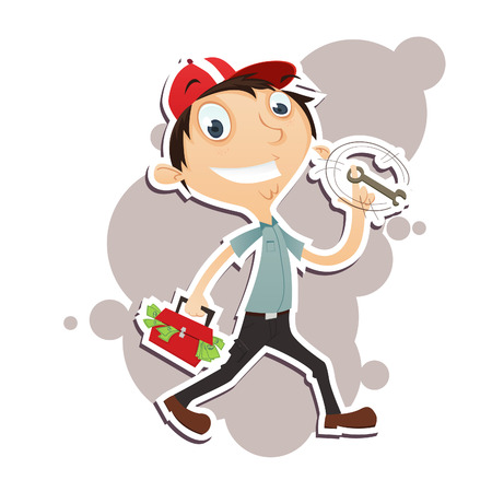 because: Vector Illustration of happy mechanic because he can make a lot of money