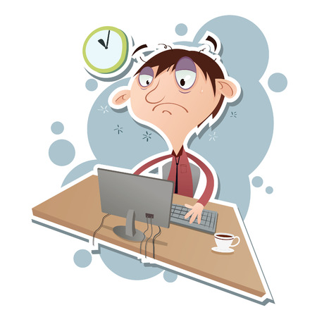 Vector illustratie van cartoon kantoor werknemer overuren.