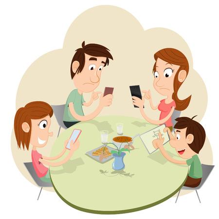 夕食中に誰もがスマート フォンで遊んで、お互いを無視します。