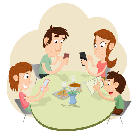 family dinner: During a dinner everyone playing with smartphones and ignoring each other.