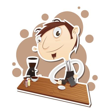 barista: Vector Illustration of cartoon barista. EPS 10