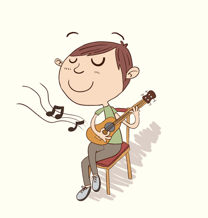 boy playing guitar: Cartoon boy sitting and playing guitar in hand drawing style.
