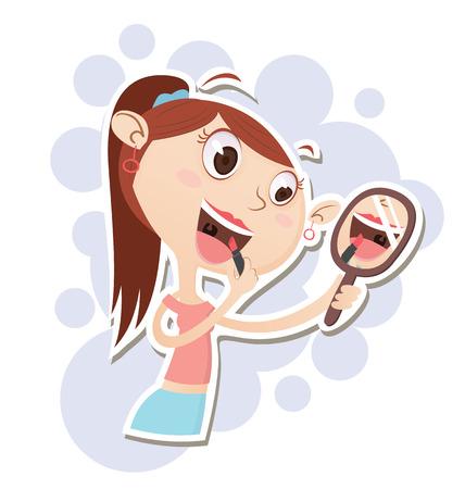 applying: Cartoon beautiful girl applying makeup. Illustration
