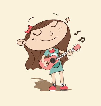 disegno a mano: Cartoon ragazza suonare la chitarra in mano stile di disegno.