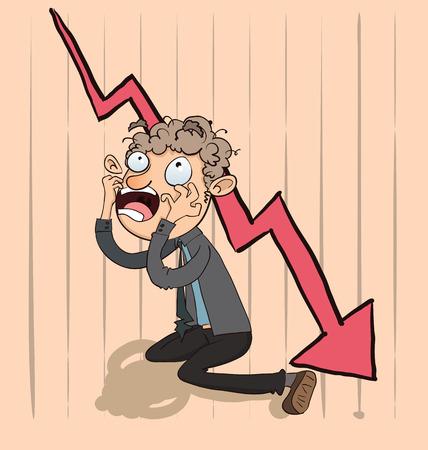 Cartoon shocking businessman  with chart going down. Ilustração