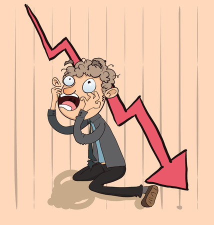 downturn: Cartoon shocking businessman  with chart going down. Illustration