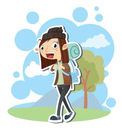 Cartoon female backpacker carrying backpack.