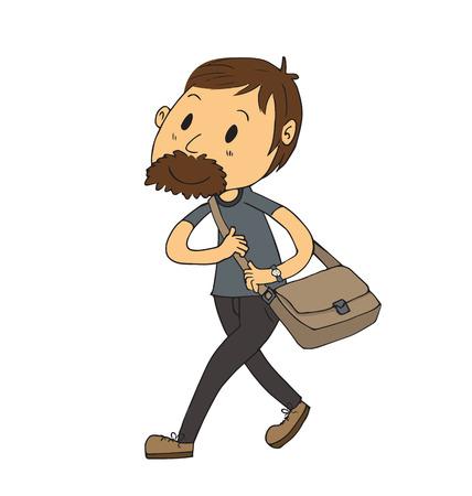 shoulder bag: Cartoon man walking with shoulder bag in hand drawing style. Illustration
