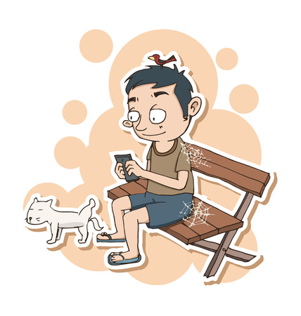 ignore: Cartoon man  using smartphone and ignore everythings around.