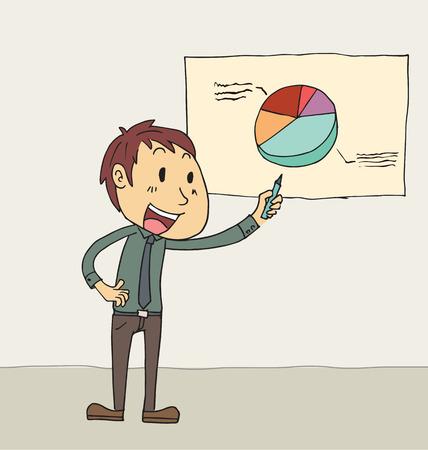 corporative: Cartoon businessman presenting pie chart. Illustration