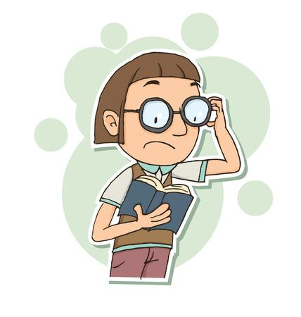 nerdy: Cartoon nerdy looking boy with book.