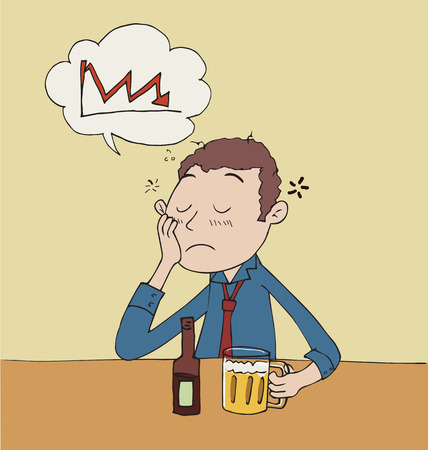 Cartoon sad businessman drinking beer.