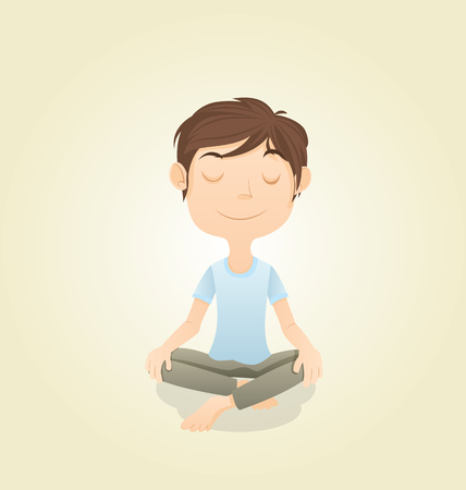 man meditating: cartoon young man meditating on the floor.
