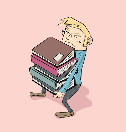 stack of files: Cartoon businessman carrying heavy pile of files.