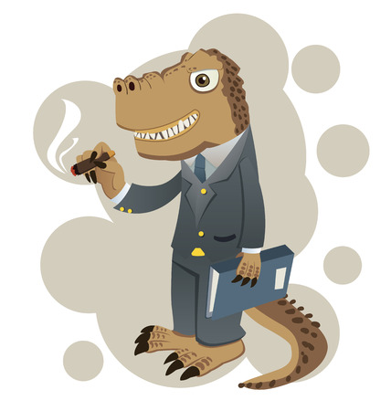 Cartoon dinosaur in suit represent to conservative businessman.
