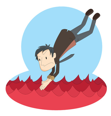 frustrate: Cartoon businessman jump to red ocean represent to red ocean business strategy. Illustration
