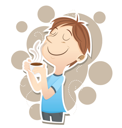 smell: Cartoon man inhales the smell of a coffee. Illustration
