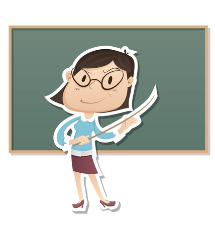Cartoon female strict teacher stand in front of chalk board. Illustration