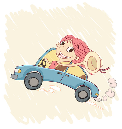 driving a car: Cartoon  happy girl driving a car and waving hat Vectores