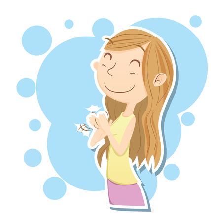 smilling: Cartoon smilling girl clapping hand. Illustration