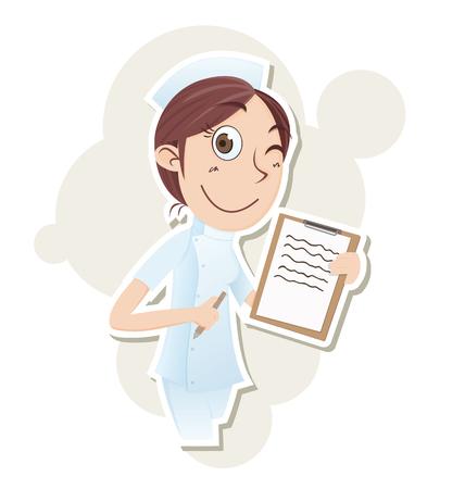enfermera caricatura: Hermosa enfermera de dibujos animados con el portapapeles. Vectores