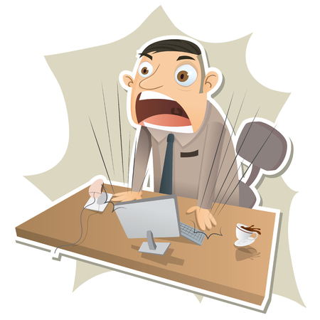 shouting: Cartoon angry boss stand up and shouting. Illustration