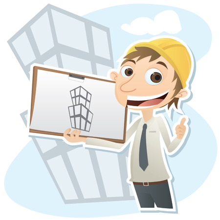 civil engineers: Cartoon smiling civil engineer with blueprint.