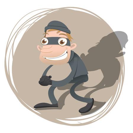 sneak: cartoon thief smiling Illustration