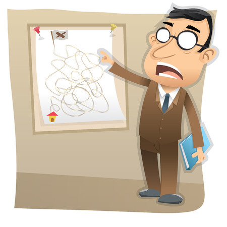 success strategy: Cartoon boss present the business goal. Illustration