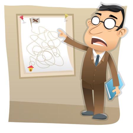 gerente: jefe de dibujos animados presenta el objetivo de negocio. Vectores
