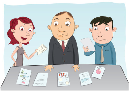 work together: Cartoon group of business people standing and thinking about their work together