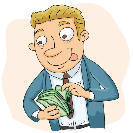 counting money: Cartoon businessman counting money with smile expression