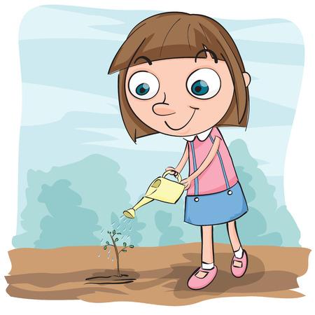 watering plant: Cartoon girl watering plant