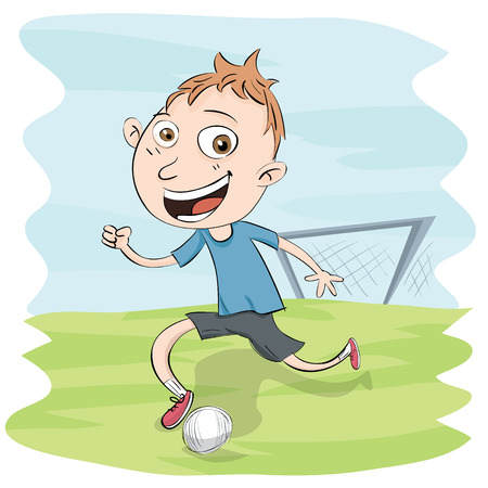 football play: Cartoon boy playing football