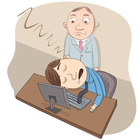 tired cartoon: Cartoon employee sleeping at work with his boss stand behind