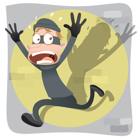 chased: Cartoon scared and fear thief running. Illustration