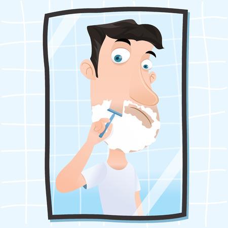 cartoon man shaving his beard with a razor Ilustração