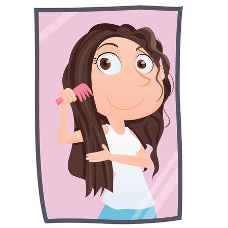 haircare: Cartoon girl combing her hair