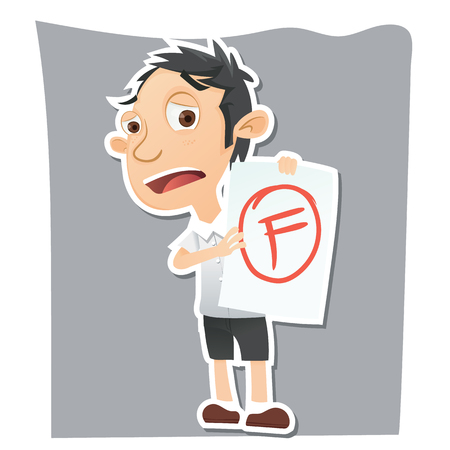 cartoon sad student showing paper with F grade