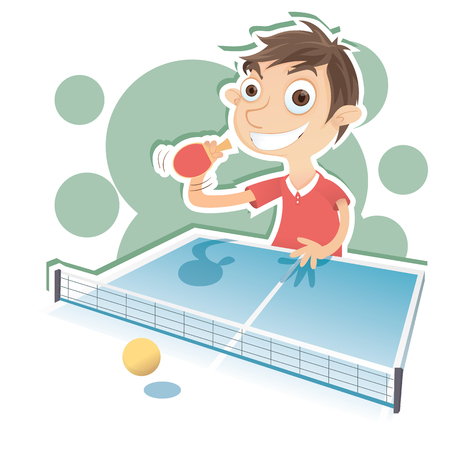 cartoon emotions: Cartoon happy boy playing table tennis
